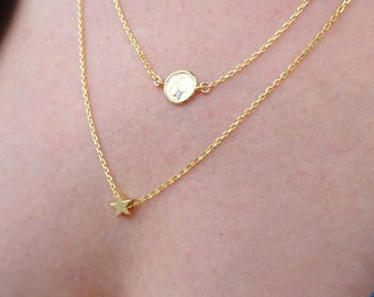 Layer Necklace Set of Two, Gold Layered Necklaces, Dainty Layered Necklaces, Gold Layered Jewelry, Double Necklace Simple Layered Necklaces