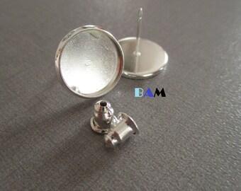 Bullet earrings 12 mm silver cabochon holder
