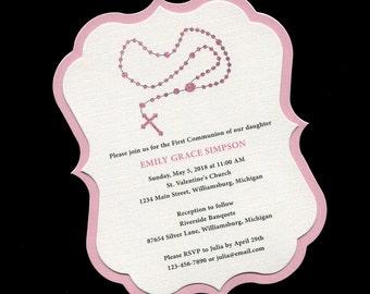 First Communion Invitation - Rosary - Pink - Girls - Communion Invitation - First Holy Communion - Personalized