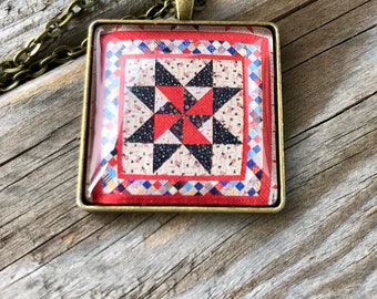 Americana Quilt Block Necklace Gift for Sewers Quilters Sewing Quilter Birthday Gift Barn Quilt Trail 4th of July
