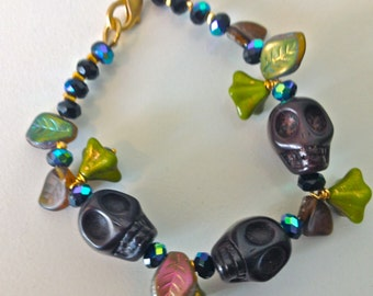 Calavera Skull, Sugar Skull bracelet with crystal flowers and leaves flowers, Day of the Dead, Halloween skull bracelet, Goth skull