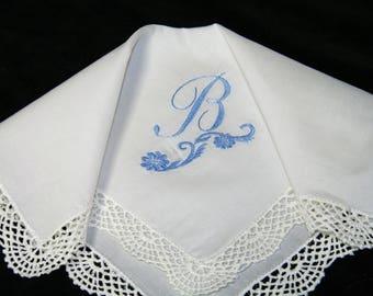 "Vintage Light Blue on White Monogrammed Monogram ""B"" Ladies Crochet Lace Trim Brides Wedding Handkerchief, Hankie, Hanky - 1047"
