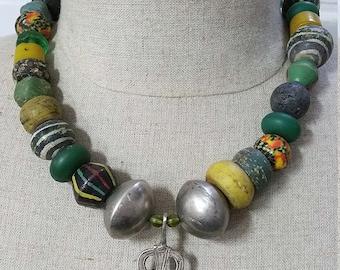 Vintage silver Moroccan Berber Hamsa / Khamsa pendant and multi color bead necklace.