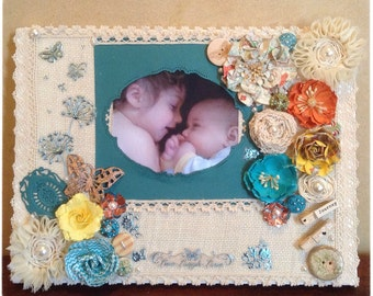 Baby photo canvas frame, Baby photo frame, Baby Shower gift, Mixed media photo canvas