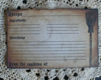 Witches Broom Recipe Cards ~ R51,handmade,primitive,for gift,country,rustic,kraft,brown kraft,bridal shower,wedding,handmade,4x6,holiday,