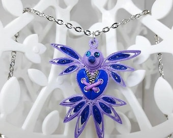 Blue and pink bird in polymer clay steampunk quilling necklace.