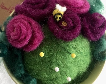 Teacup Pincushion, Needle Felted Pincushion, Needle Felted Flowers, Needle Felted Bees