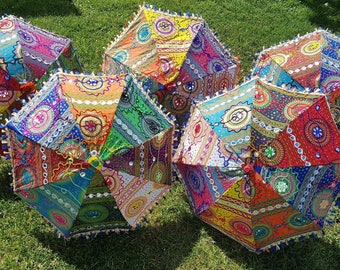 Colourful Mandala Indian Parasols, Embodied Sun Umbrella, Hippie Boho Mirror Parasol