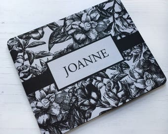 Personalised black and white floral mousemat mouse pad flower co-worker christmas gift stocking filler