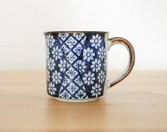 Vintage Floral Mug • Blue Coffee Cup • Japan Speckled Stoneware • Blauw Delft Kitchen • Otagiri Elesva Style • Cobalt Ceramic Pottery