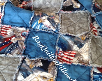 Homemade Quilt, Rag Quilt, Throw Quilt, Patriotic Quilt, Americana Quilt, Lap Quilt, Handmade Quilt, Country Throw, Decorative Throw, Eagle