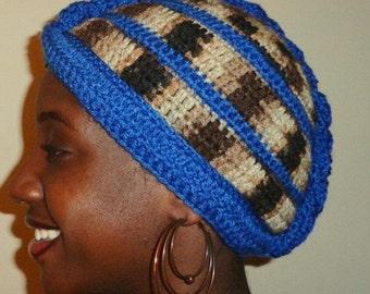 Blue Suede but No Shoes, Crochet Mohawk African Headwrap