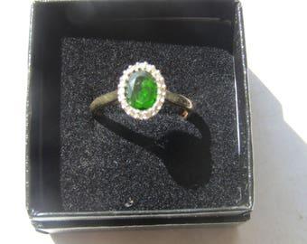 Gem-set Diamond Gold Ring Sz 8 3/4