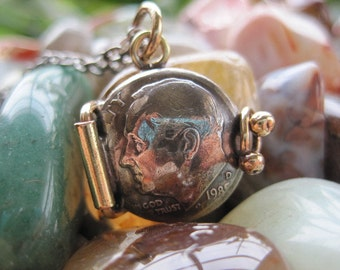 Tiny Dime Locket Pendant MADE TO ORDER.
