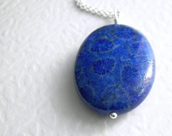 Blue Coral Fossil Necklace, Cobalt Jewelry, Sterling Silver Science Pendant