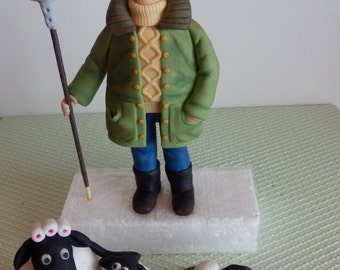 Fondant cake toppers Shaun the sheep and a farmer