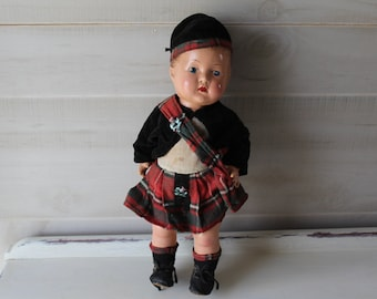 """Reliable Highland Laddie Doll, 1939, Scottish Boy Composition 14"""" Doll, Made in Canada, Antique"""