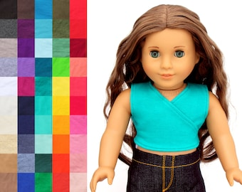 Fits like American Girl Doll Clothes - Crossover Crop Tank Top, You Choose Color   18 Inch Doll Clothes