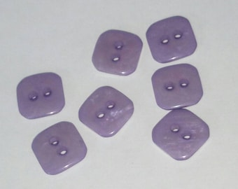 set of 7 buttons square purple iridescent 10 mm scrapbooking