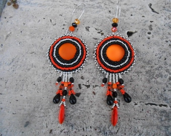 """Embroidered beaded earrings """"black and orange intense"""""""