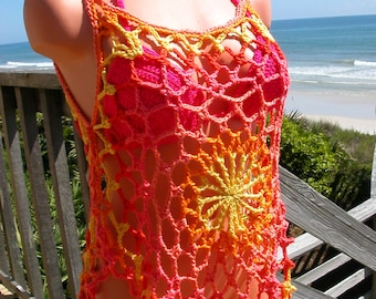 Crochet Bright Citrus Mandala Top, Beach Cover, Tank Top, medium