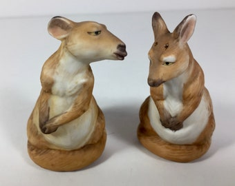 SALE Salt Pepper Shakers Kangaroos Porcelain Finely Detailed Vintage