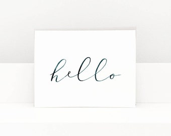 Hello Greeting Card, Greeting Cards, Greeting Cards Handmade, Blank Greeting Cards, Greeting Card Set, Watercolor Greeting Cards