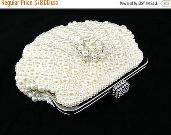 SALE SALE Cream Shell Faux Pearl Bridal Clutch, Cream Pearl Wedding Clutch,