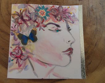 Greeting card with posh woman and butterflies in her hair 13 x 13 cm/5.1 x 5.1 inch