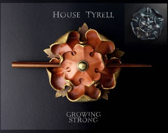 Tyrell leather barrette, Game of thrones, Tyrell sigil, House Tyrell, Margaery Tyrell, Rose hair stick, Flower hair pin, Leather hair clip