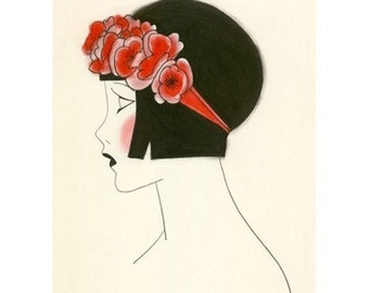 "1920s Art Deco art print -  Poppy IV - 4"" X 6"" - 4 for 3 SALE"