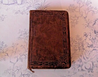 Antique French and Latin Missal Leather Bound Prayer Book - French Vintage. French Antique. Religion. Religious. Prayer Book.