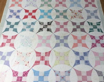 Antique Improved Nine Patch Patchwork Quilt Vintage Farmhouse Country Living Fixer Upper Style Feedsack Fabric Hand Quilted Rustic Primitive