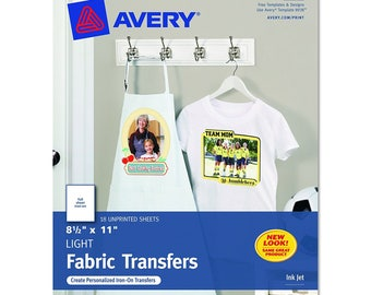 Avery T-shirt Transfers for Inkjet Printers 8.5 x 11 Inches for use with White Light Colored Fabric 18 Sheets US SELLER with Fast Shipping