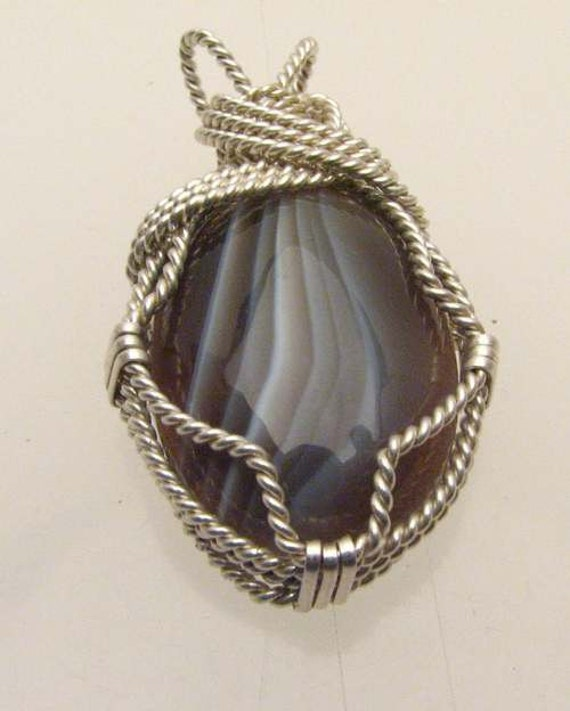 Handmade Sterling Silver Wire Wrap Tree Botswana Agate Pendant