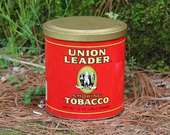 "FREE SHIPPING within the U.S. ~ Vintage Union Leader Smoking Tobacco Tin ~ Eagle ~ Tobacciana ~ Advertising ~ 5"" x 5"""