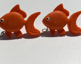 gold fish earrings, gold fish studs, fish earrings, orange earrings, orange studs, fish jewelry, gold fish jewelry, gift for her
