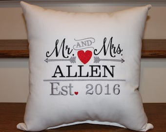 Mr. and Mrs. Pillow Established Pillow, Wedding Pillow, Wedding Gift Ideas, Wedding Decor, Anniversary Ideas, Anniversary Pillow, Home Decor