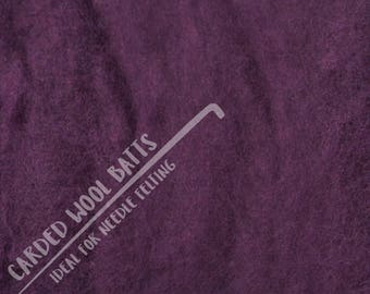 Plum Purple Colour Carded Wool Batts For Needle Felting 5g 10g 20g | 100% Sheep Wool | Needle Felting Wool | The Happy Felt Club UK Listing