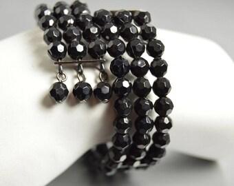 Black Beaded Bracelet Memory Wire Wrap Bracelet Easy On Easy Off Goth Art Deco