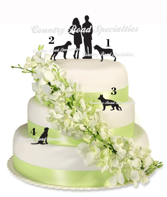 Pets With Silhouete Bride and Groom Cake Topper MADE In
