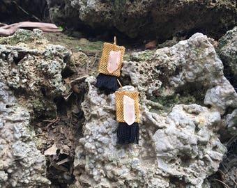 Quartz, gold mesh, black silk earrings