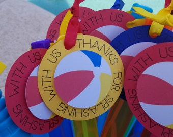 Pool Party Beach Ball Thank You tags (QTY 9)