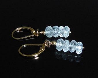 Gold Filled Aquamarine Earrings, Aquamarine Dangle Drop Earrings, March Birthstone, Mother's Day, Blue Stone, Aquamarine Stack Earrings