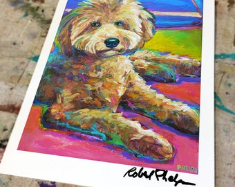 Colorful LABRADOODLE ART PRINT by Robert Phelps--Labradoodle gifts, Labradoodle painting, Labradoodle Art, Labradoodle Lovers Gift, Cute Dog