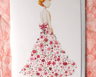 Pink Flower Dress - Cancer Research Charity Card
