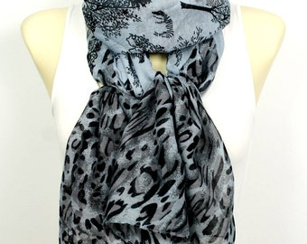Leopard Scarf Black and Grey Animal Scarf Women Long Spring Scarves for Women Woodland Scarf Leopard Print Scarf Mom Gift Mothers Day Gift