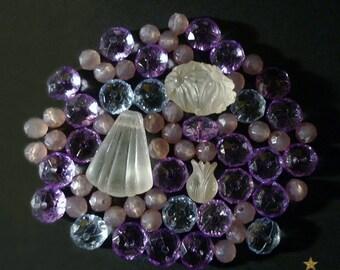 Pearls vintage resin forms various pink, purple, blue, white