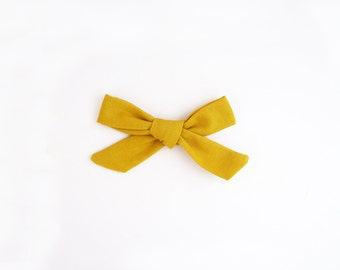 Mustard Bow, Tied School Girl Bow ,Hand Tied Bow Headband, Bow Clip