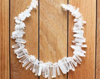 "Quartz Crystal Clear Point Stick Beads - 35mm - 15"" strand"